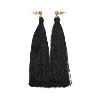 Eternally Haute Black Tassel Drop Earrings