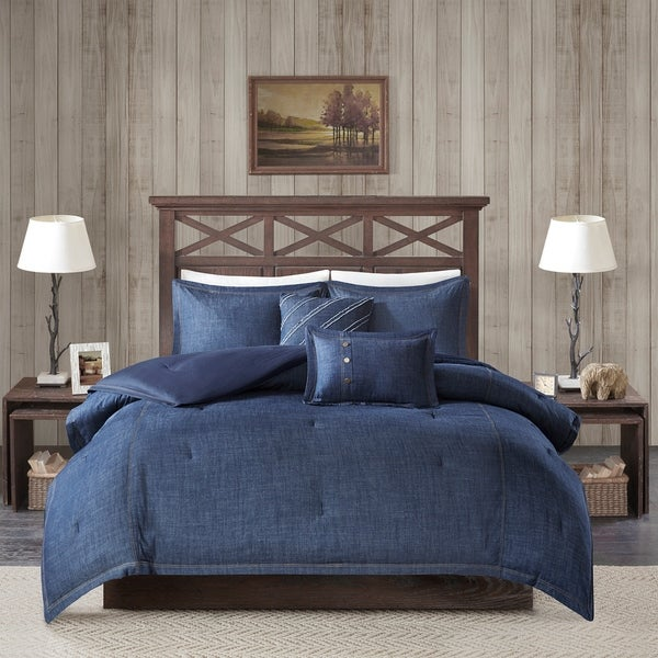 Woolrich Perry Blue Oversized and Overfilled Denim Comforter Set