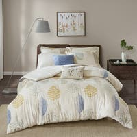 Madison Park Lina Blue Overfilled Cotton Flannel 7-piece Comforter Set