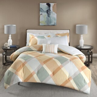 Madison Park Cory Orangel Overfilled Cotton Flannel Comforter Set