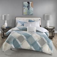 Madison Park Cory Blue Overfilled Cotton Flannel Comforter Set