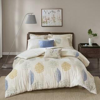 Madison Park Lina Blue Printed Cotton Flannel 7-piece Duvet Cover Set