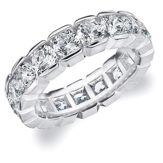 Amore Platinum 4.0 CT TDW Round Brilliant Diamond Eternity Band, G-H/ SI - White G-H
