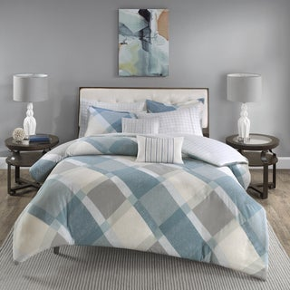 Madison Park Cory Blue Printed Cotton Flannel Duvet Cover Set
