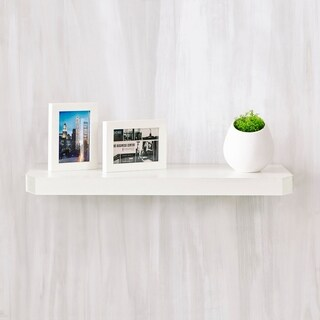 "Eco 24"" Uniq Floating Decorative Wall Shelf, White LIFETIME GUARANTEE"