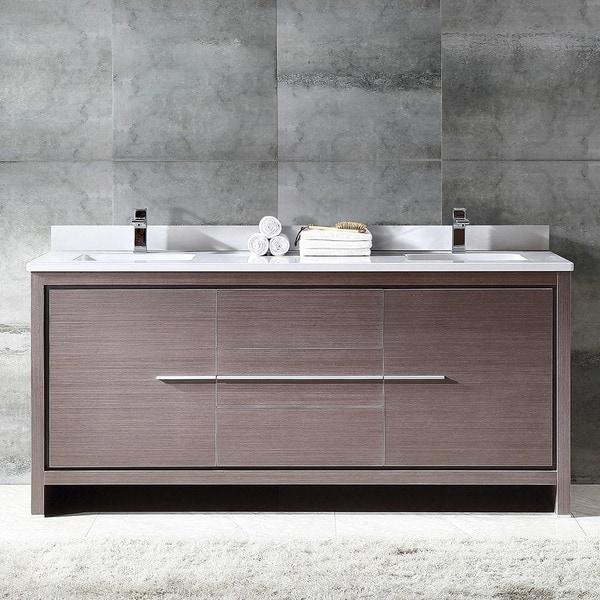 Shop Fresca Allier 72-inch Grey Oak Modern Double Sink