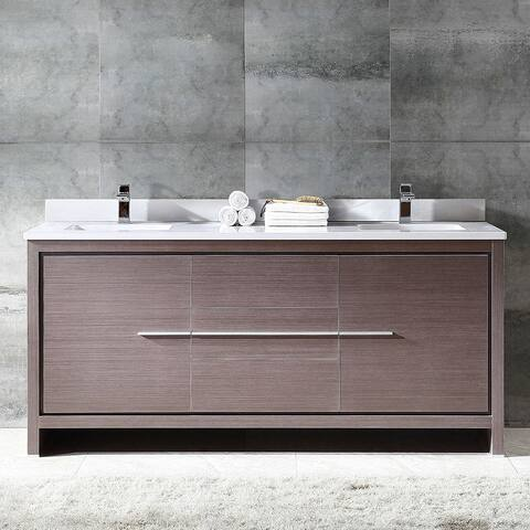 Fresca Allier 72-inch Grey Oak Modern Double Sink Bathroom Cabinet with Top and Sinks