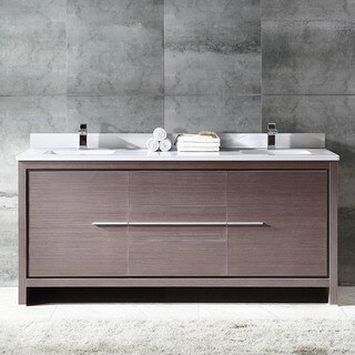 Fresca Allier 72-inch Grey Oak Modern Double Sink Bathroom Cabinet with Top and Sinks