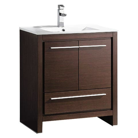 "Fresca Allier 30"" Wenge Brown Modern Bathroom Cabinet w/ Sink"