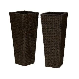 Household Essentials Brown Resin Floor Vase Planters (Set of 2)