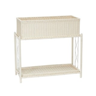 Household Essentials White Indoor/Outdoor Resin Planter Stand