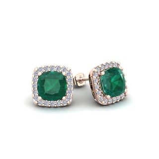 2 1/2 Carat TGW Cushion Cut Emerald and Halo Diamond Stud Earrings In 14 Karat White, Yellow and Rose Gold - Green (3 options available)