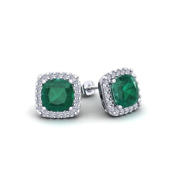 a86b4c7c4 2 1/2 Carat TGW Cushion Cut Emerald and Halo Diamond Stud Earrings In 14  Karat White, Yellow and Rose Gold - Green