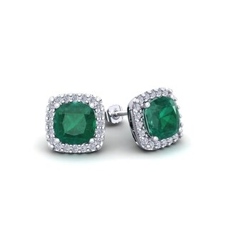 2 1/2 Carat TGW Cushion Cut Emerald and Halo Diamond Stud Earrings In 14 Karat White, Yellow and Rose Gold - Green