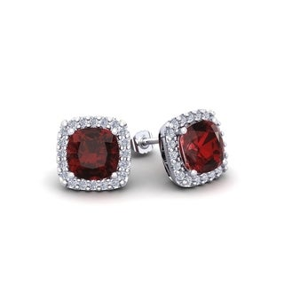 2 1/2 Carat TGW Cushion Cut Garnet and Halo Diamond Stud Earrings In 14 Karat White, Yellow and Rose Gold - Red