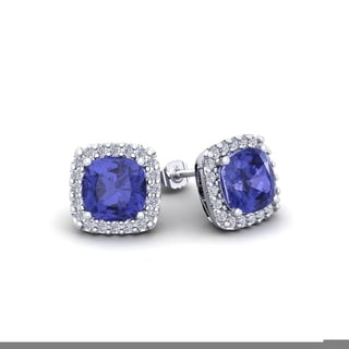 2 1/4 Carat TGW Cushion Cut Tanzanite and Halo Diamond Stud Earrings In 14 Karat White, Yellow and Rose Gold - Blue