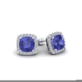 2 1/4 Carat TGW Cushion Cut Tanzanite and Halo Diamond Stud Earrings In 14 Karat White, Yellow and Rose Gold - Blue (Option: Rose)