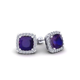 2 Carat TGW Cushion Cut Amethyst and Halo Diamond Stud Earrings In 14 Karat White, Yellow and Rose Gold - Purple