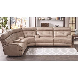 Lyke Home Jakoby Taupe Leather Gel Power Recliner Sectional