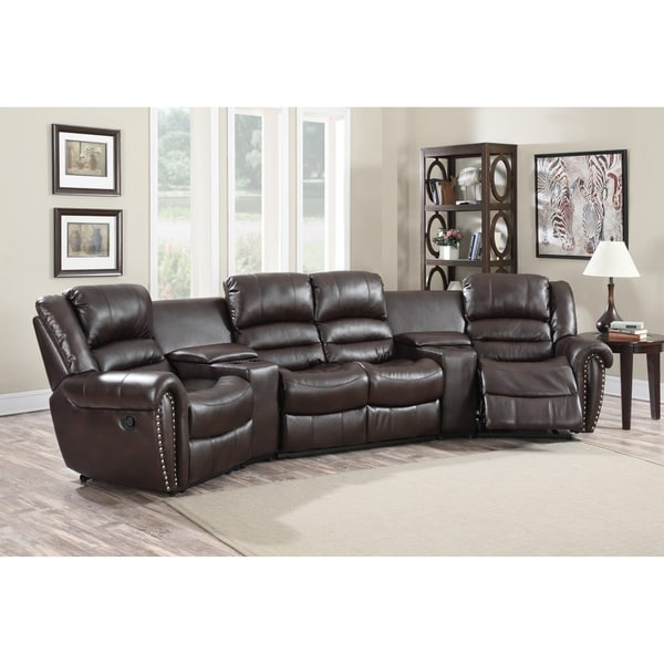 Lyke Home Abigail Burgundy Leather Gel Movie Theater Recliner Seats