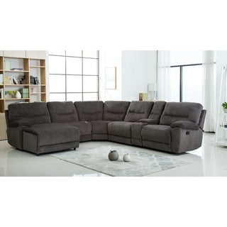 Lyke Home Kaiser Grey Chenille Recliner Sectional