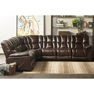Lyke Home October Chocolate Leather Match Recliner Sectional
