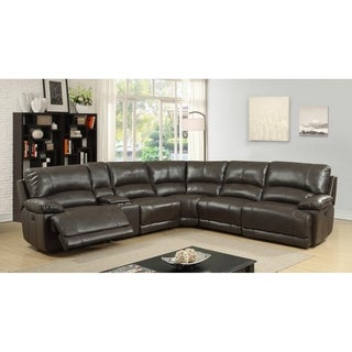 Lyke Home Juelz Brown Leather Gel Recliner Sectional