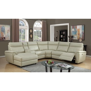 Lyke Home Bryce Ivory Leather Gel Power Recliner Sectional