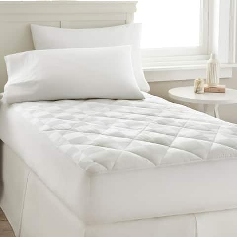 Modern Threads 300 Thread Count 100-Percent Cotton Square Dobby Waterproof Mattress Pad - White