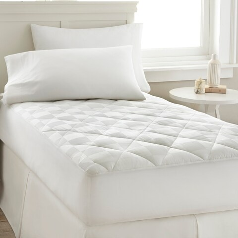 Amrapur Overseas 300 Thread Count 100-Percent Cotton Square Dobby Waterproof Mattress Pad - White