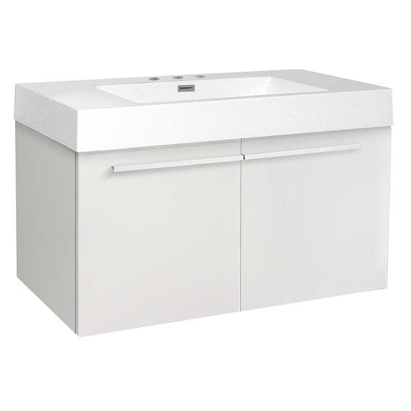 Fresca Vista White Bathroom Base Cabinet with Integrated Sink