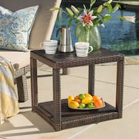 Boracay Outdoor Square Wicker Accent Table by Christopher Knight Home