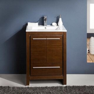 "Fresca Allier 24"" Wenge Brown Modern Bathroom Cabinet w/ Sink"