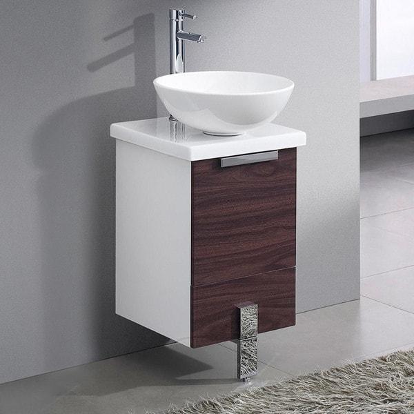 Fresca Adour 16 Dark Walnut Modern Bathroom Cabinet W Top