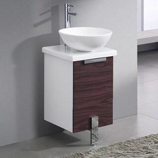 "Fresca Adour 16"" Dark Walnut Modern Bathroom Cabinet w/ Top & Vessel Sink"