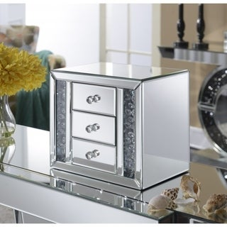 Best Quality Furniture Mirrored 3-drawer Jewelry Box with Crystal Accent
