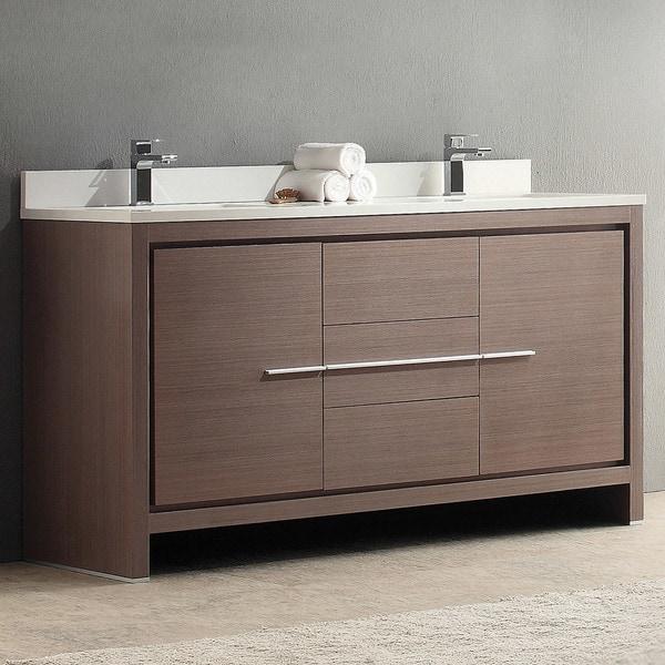 Fresca Allier 60-inch Grey Oak Double Sink Bathroom Cabinet