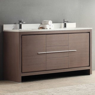 Fresca Allier 60-inch Grey Oak Double Sink Bathroom Cabinet