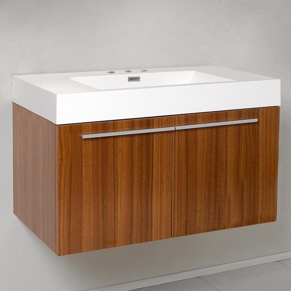 Fresca Vista Teak Modern Bathroom Cabinet with Integrated Sink