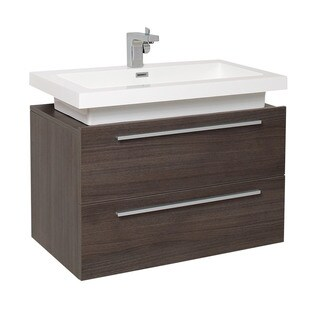 Fresca Medio Grey Oak Modern Bathroom Cabinet w/ Vessel Sink