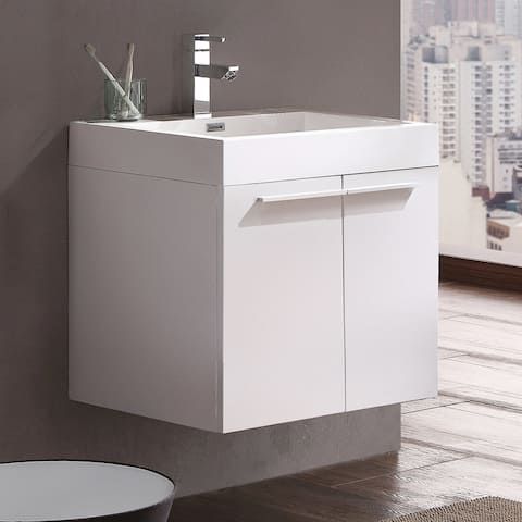 Fresca Alto White Modern Bathroom Cabinet w/ Integrated Sink