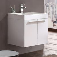 Fresca Alto White Modern Bathroom Cabinet w/ Integrated Sink
