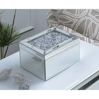 Mirrored Jewelry Box with Crystal Accent