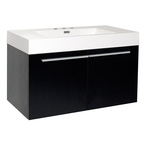 Fresca Vista Black Bathroom Cabinet with Integrated Sink