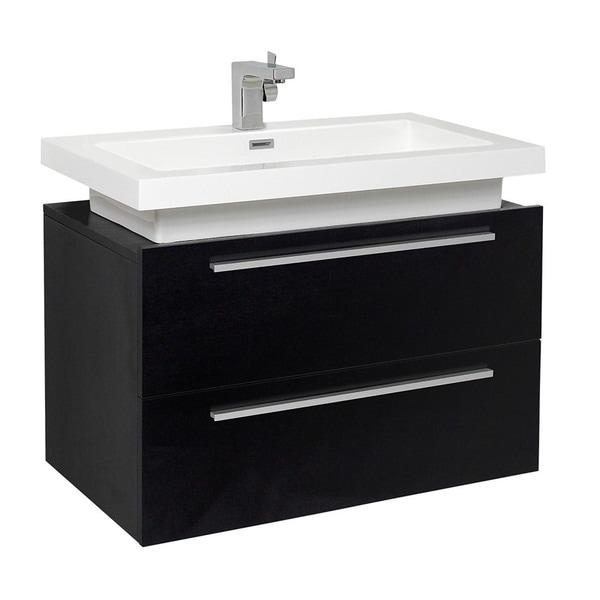 Fresca Medio Black Modern Bathroom Cabinet w/ Vessel Sink