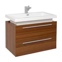Fresca Medio Teak Modern Bathroom Cabinet w/ Vessel Sink