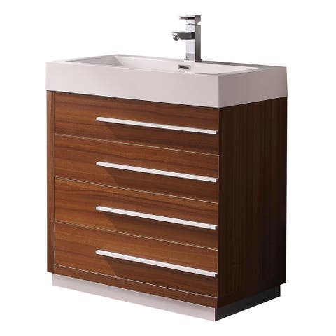 Fresca Livello 30-inch Teak Modern Bathroom Cabinet with Integrated Sink