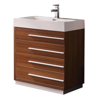 Fresca Livello 30-inch Teak Modern Bathroom Cabinet with Integrated Sink