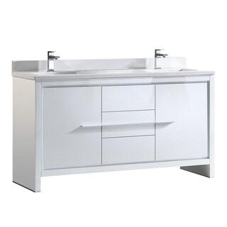 Fresca Allier 60-inch White Modern Double Sink Bathroom Cabinet