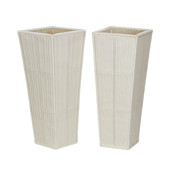 Household Essentials 2-Piece Resin Floor Vase Planters, White